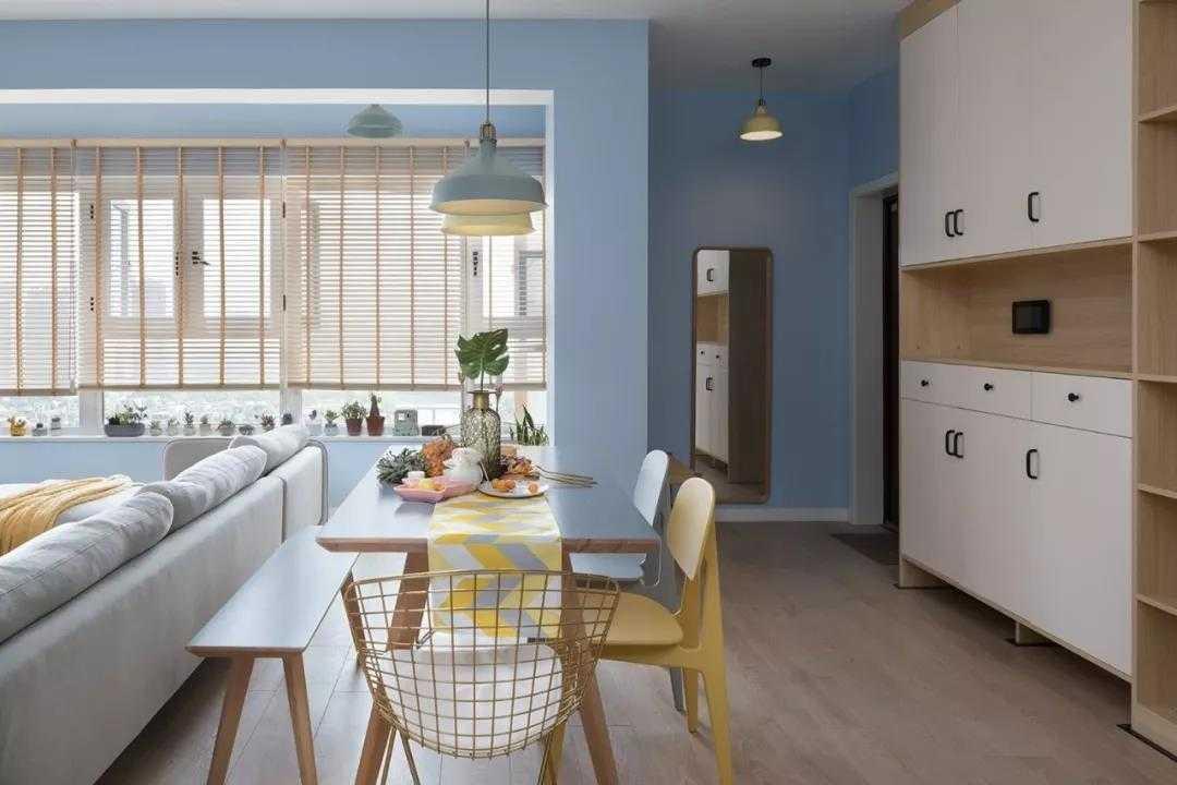 【装修精选】110㎡三室,蓝色背景墙清爽舒适,底下带抽屉柜的榻榻米,太实用了