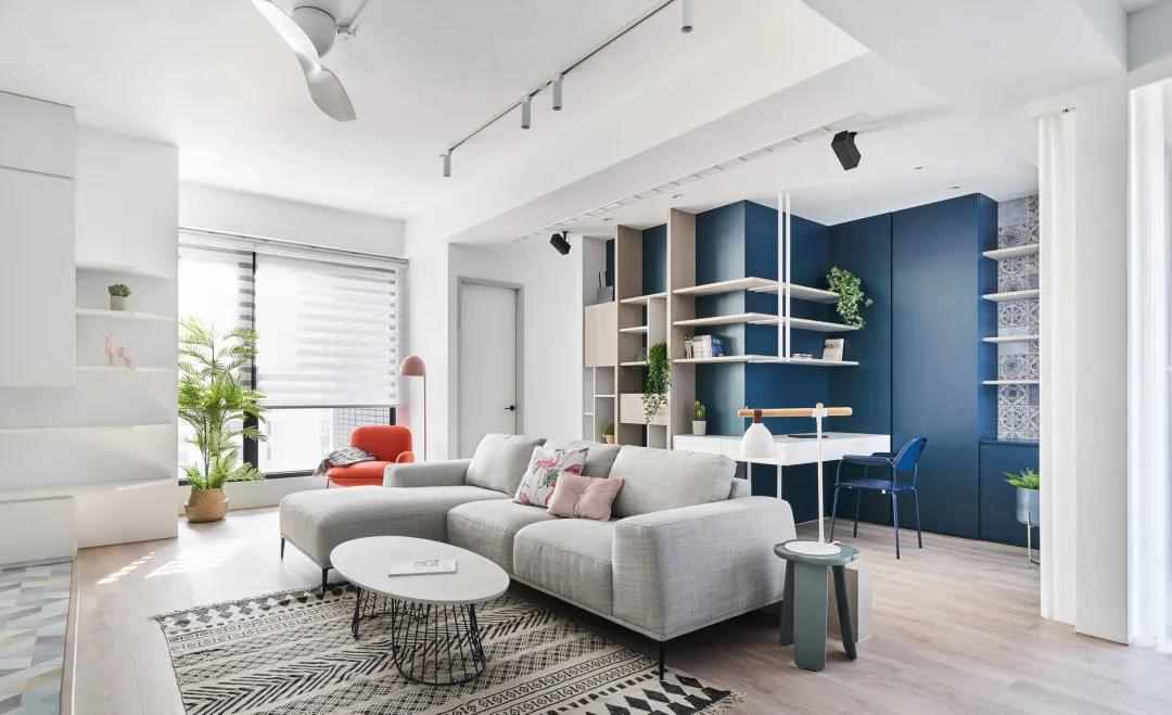 87㎡简约小户型,活跃的配色+创意收纳设计,让家更温馨实用!