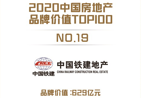 中国铁建地产品牌价值以629亿元位列行业TOP19!